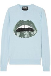 Markus Lupfer Mia Sequined Cotton Sweater Blue