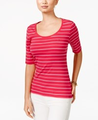 Tommy Hilfiger Striped Scoop Neck Tee Pink Morning Glory