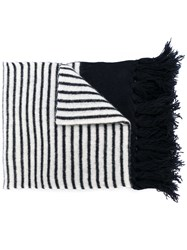 Massimo Piombo Mp Striped Fringed Scarf Unisex Lambs Wool Blue