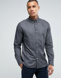 Esprit Slim Fit Long Sleeve Shirt With Button Down Collar In Brushed Cotton Grey 010