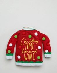 Paperchase Christmas Lets Drink Wine Sweater Multi