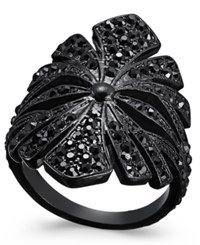 Inc International Concepts Jet Tone Pave Floral Statement Ring Only At Macy's Black