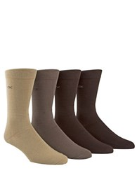 Calvin Klein Solid Cotton Blend Socks Set Of 4 Khaki