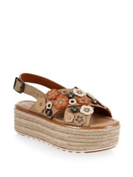 Coach Tea Rose Leather Espadrilles Beechwood