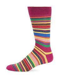Saks Fifth Avenue Made In Italy Jaspe Multi Striped Socks Red