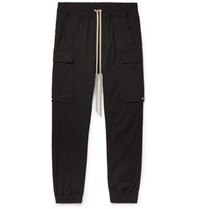 Rick Owens Black Slim Fit Tapered Stretch Cotton Drawstring Cargo Trousers Black