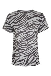 Topshop Acid Zebra T Shirt Grey