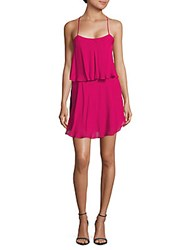 Haute Hippie Sleeveless Silk Tiered Dress Magenta
