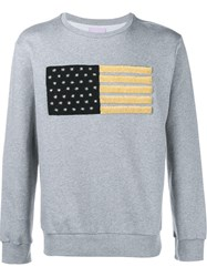 Palm Angels Embroidered Flag Sweatshirt Grey