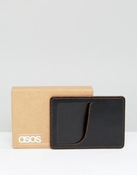 Asos Leather Card Holder With Contrast Black