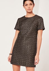 Missguided Gold Metallic Jacquard Shift Dress