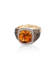 Le Vian 0.36Tcw Diamonds Citrine And 14K Yellow Gold Chocolatier Ring Orange