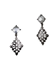 Badgley Mischka Crystal Cutout Drop Earrings Hematite