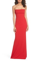 Katie May Strapless Cutout Back Gown Red