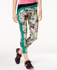 Energie Active Juniors' Domino Printed Contrast Capri Leggings Camo Artist
