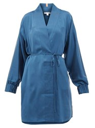 Lunya Elasticated Cuff Belted Silk Robe Blue