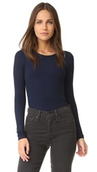 Three Dots Long Sleeve Tee Night Iris
