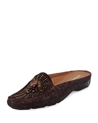 Lucia Beaded Suede Mule Berry Donald J Pliner