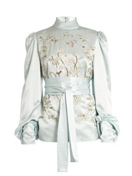 Hillier Bartley Bird Embroidered Silk Satin Blouse Light Blue