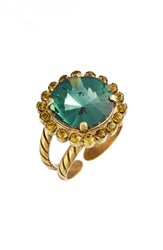 Sorrelli Haute Halo Crystal Cocktail Ring Blue Green