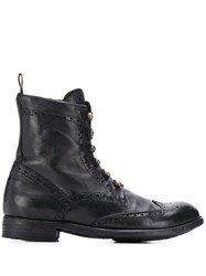 Officine Creative Brogue Military Boots Black