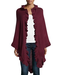 Minnie Rose Cashmere Ruffle Trim Wrap Port