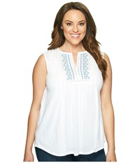 Lucky Brand Plus Size Embroidered Pintuck Tank Top Bright White Women's Sleeveless