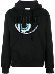 Chiara Ferragni Logomania Distressed Hoodie Black