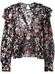 Isabel Marant Rose Embroidery Blouse Black