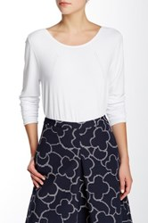 Pink Tartan Pointelle Scoop Neck Skivvy Pullover White
