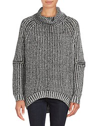 Saks Fifth Avenue Chunky Knit Turtleneck Sweater Solid Black