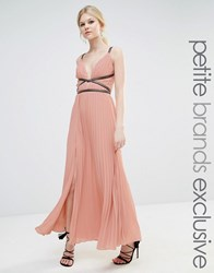 True Decadence Petite Grecian Style Maxi Dress In Pleat Fabric Blush Pink