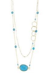 Charlene K 14K Gold Vermeil Turquoise Station Necklace Metallic