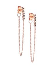 Zoe Chicco Black Diamond And 14K Rose Gold Front Back Earrings