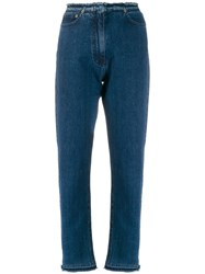 Mcq By Alexander Mcqueen Frayed Slim Fit Jeans Blue