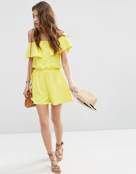 Asos Off Shoulder Bandeau Playsuit With Buttons Yellow