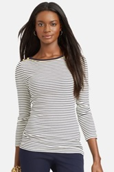 Lauren Ralph Lauren Metallic Trim Boatneck Stripe Top Plus Size White