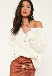 Missguided White Distressed Off The Shoulder Jumper
