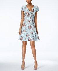 Betsey Johnson Floral Print Fit And Flare Dress Light Blue