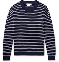 Sandro Striped Textured Cotton Sweater Navy