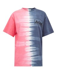 Aries Logo Print Tie Dyed Cotton Jersey T Shirt Blue Multi