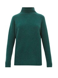 The Elder Statesman Highland High Neck Cashmere Sweater Green