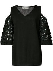 D.Exterior Off Shoulder Lace Detail Blouse Black