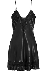 Alexander Mcqueen Ruffle Trimmed Satin Mini Dress