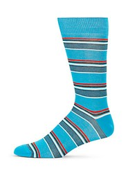 Saks Fifth Avenue Made In Italy Right Light Striped Socks Light Blue