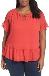 Sejour Plus Size Women's Tie Neck Ruffle Blouse Red Hibiscus