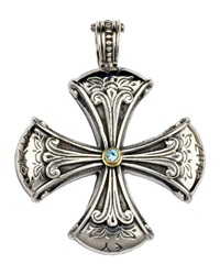 Konstantino Sterling Silver And Blue Topaz Cross Enhancer