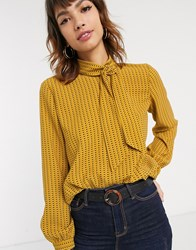 Esprit Tile Print Pussybow Blouse In Amber Brown
