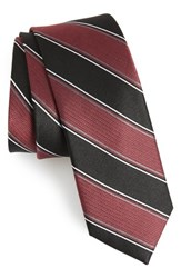The Tie Bar Stripe Silk Burgundy