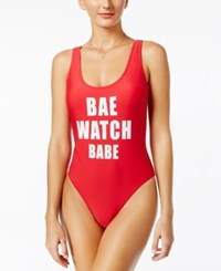 California Waves Graphic One Piece Swimsuit Women's Swimsuit Red